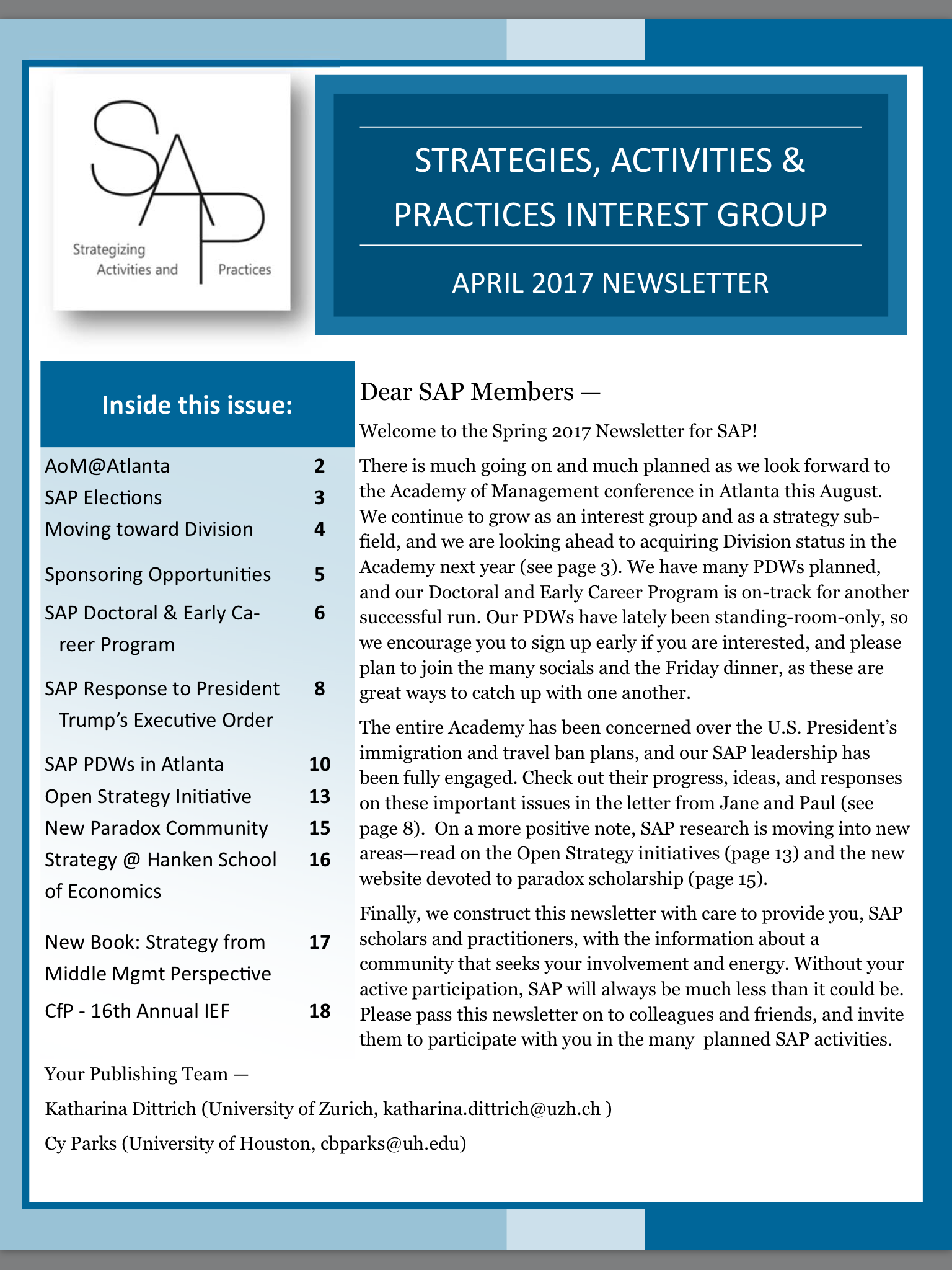 Easter Greetings The Sap Spring Newsletter Is Out